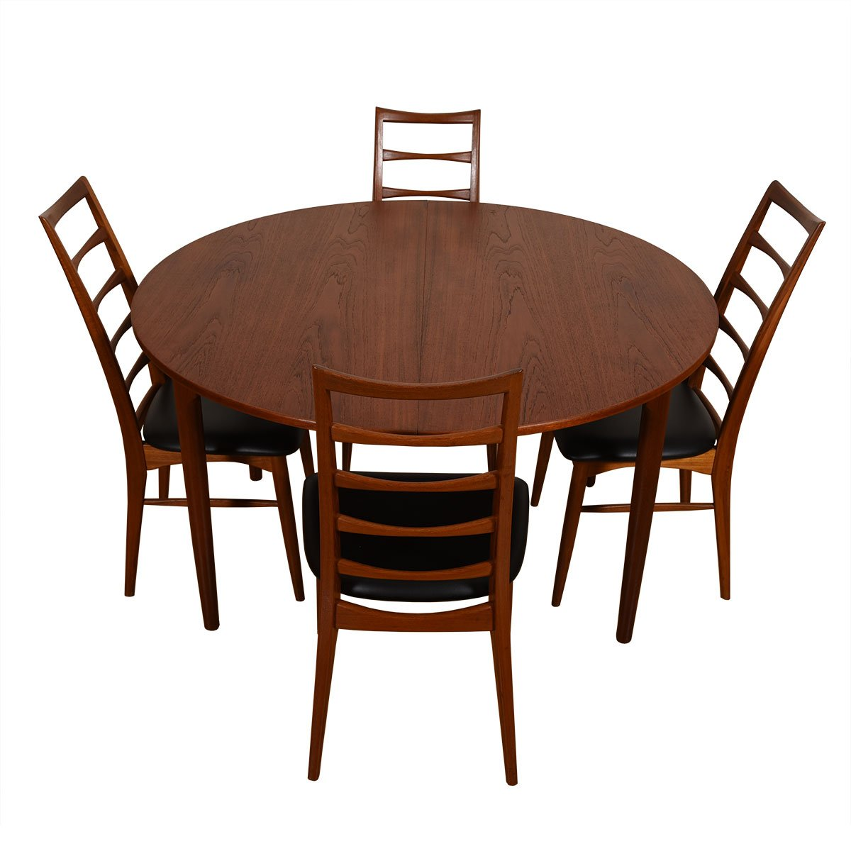 51″ Danish Modern Teak Expanding Round to Oval Dining Table
