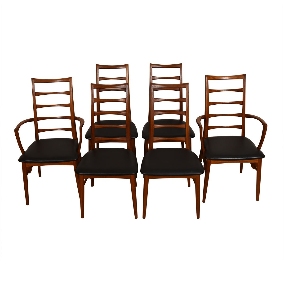 Danish Teak Set of 6 (2 Arm + 4 Side) Dining Chairs by Koefoeds Hornslet