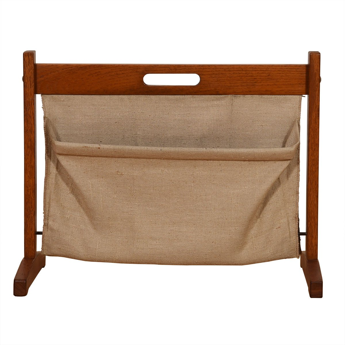 Danish Modern Teak + Canvas Magazine Rack