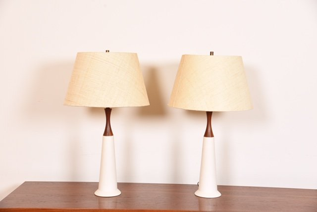 Pair of Tall Teak and White Decorator Lamps