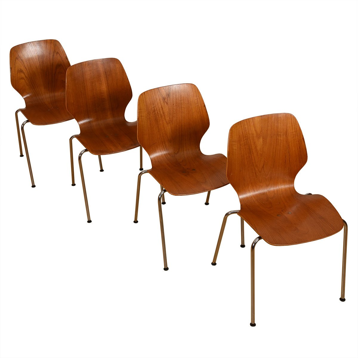 Stacking Set of 4 Iverson Teak + Chrome Leg Dining Chairs by Westnofa