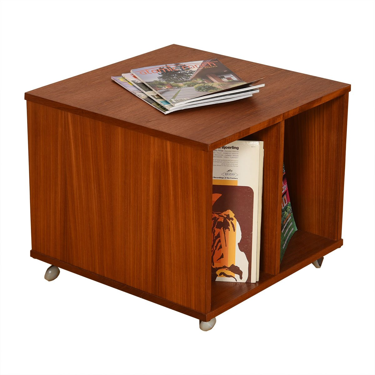 Danish Modern Teak Rolling Mag + Vinyl Cart / End Table