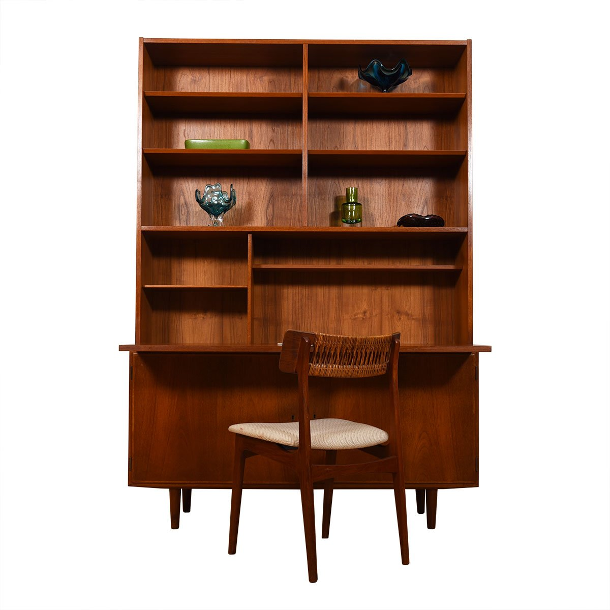 2-Piece Danish Teak Secretary / Display / Locking Cabinet