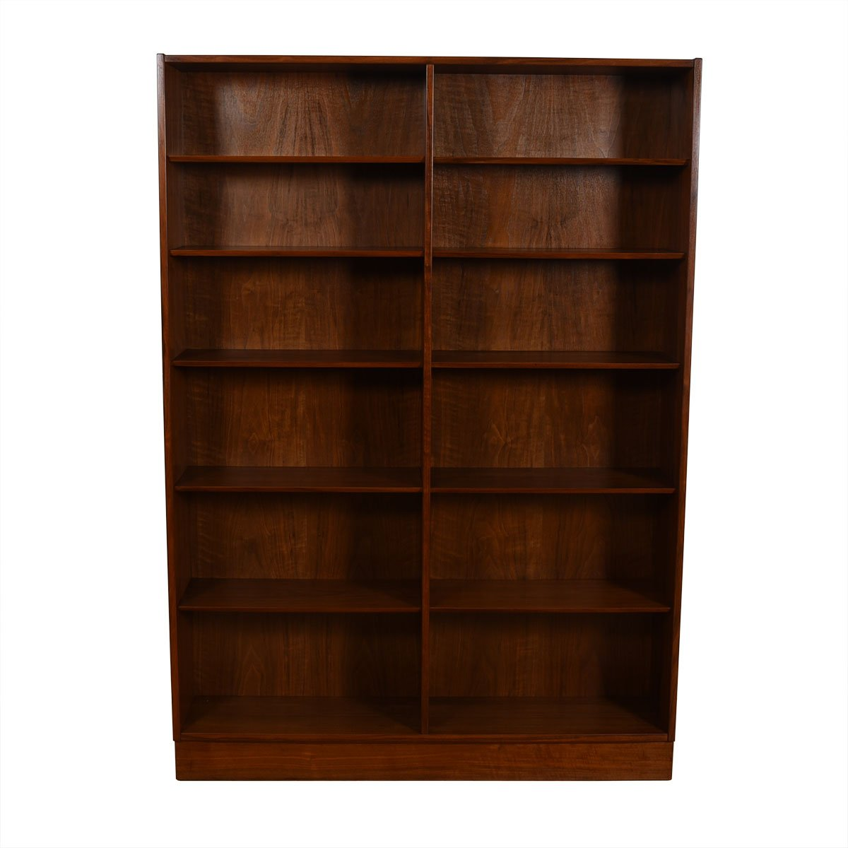 Walnut Danish Modern Tall + Wide Full Bookcase
