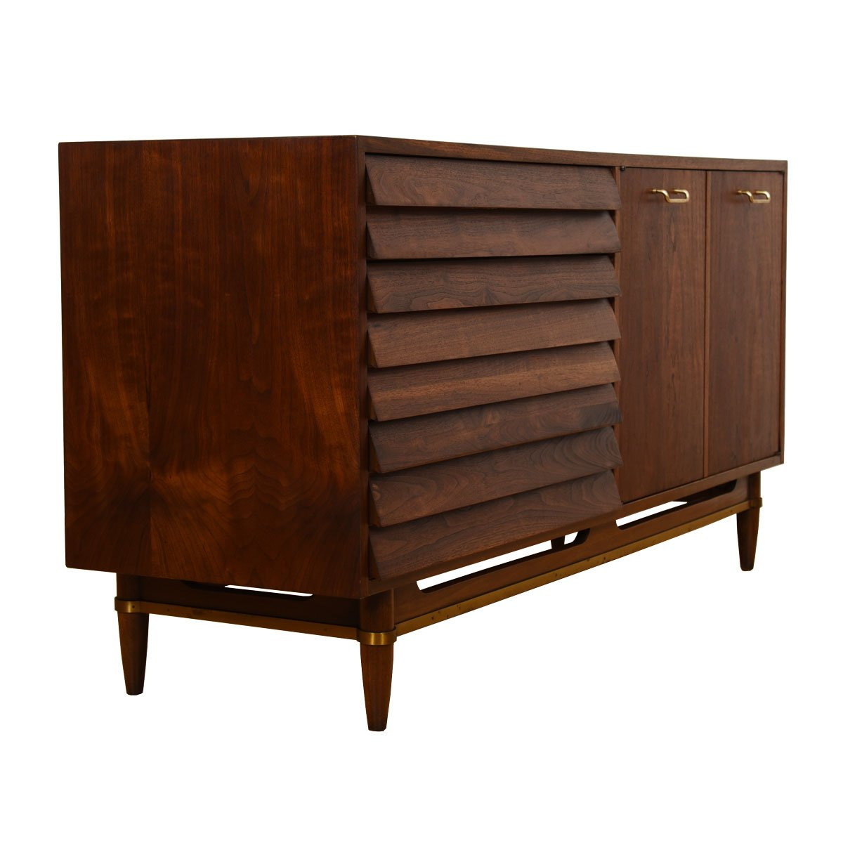 Compact Mid Century Modern Walnut Slatted Front Dresser / Sideboard
