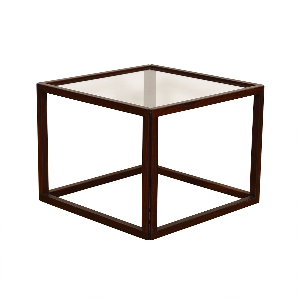 Rosewood Danish Square Glass Top Accent Table
