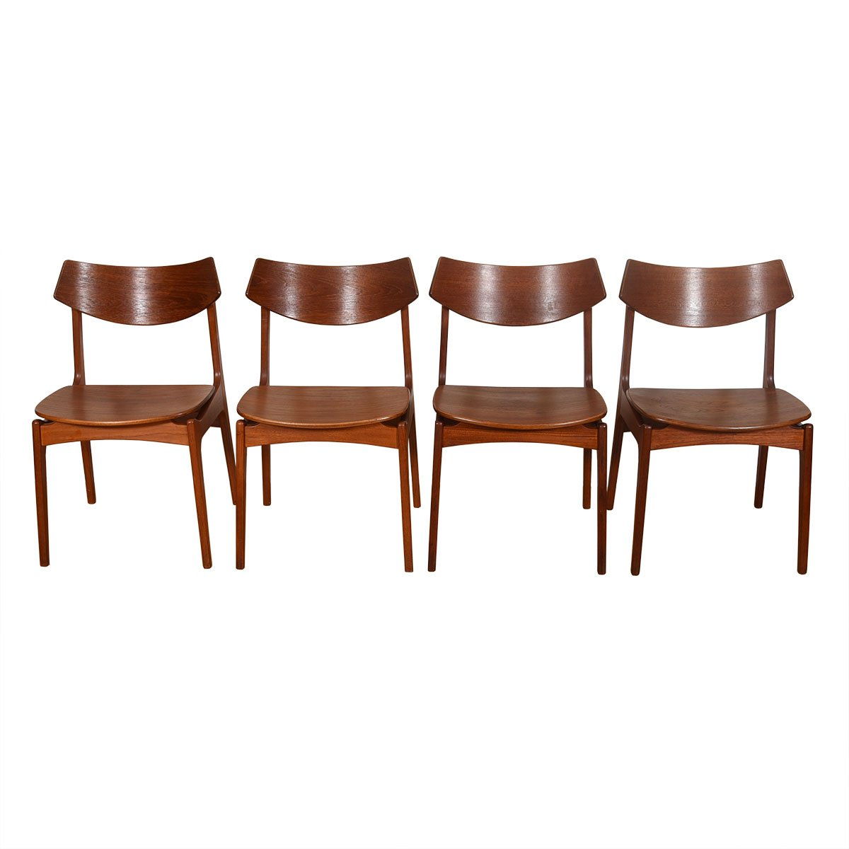 Set of 4 Danish Teak Curved Back Dining Chairs