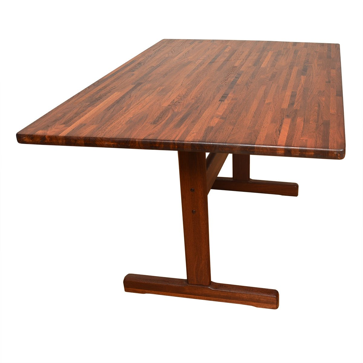Danish Modern Solid Teak Dining Table / Desk with Trestle Base