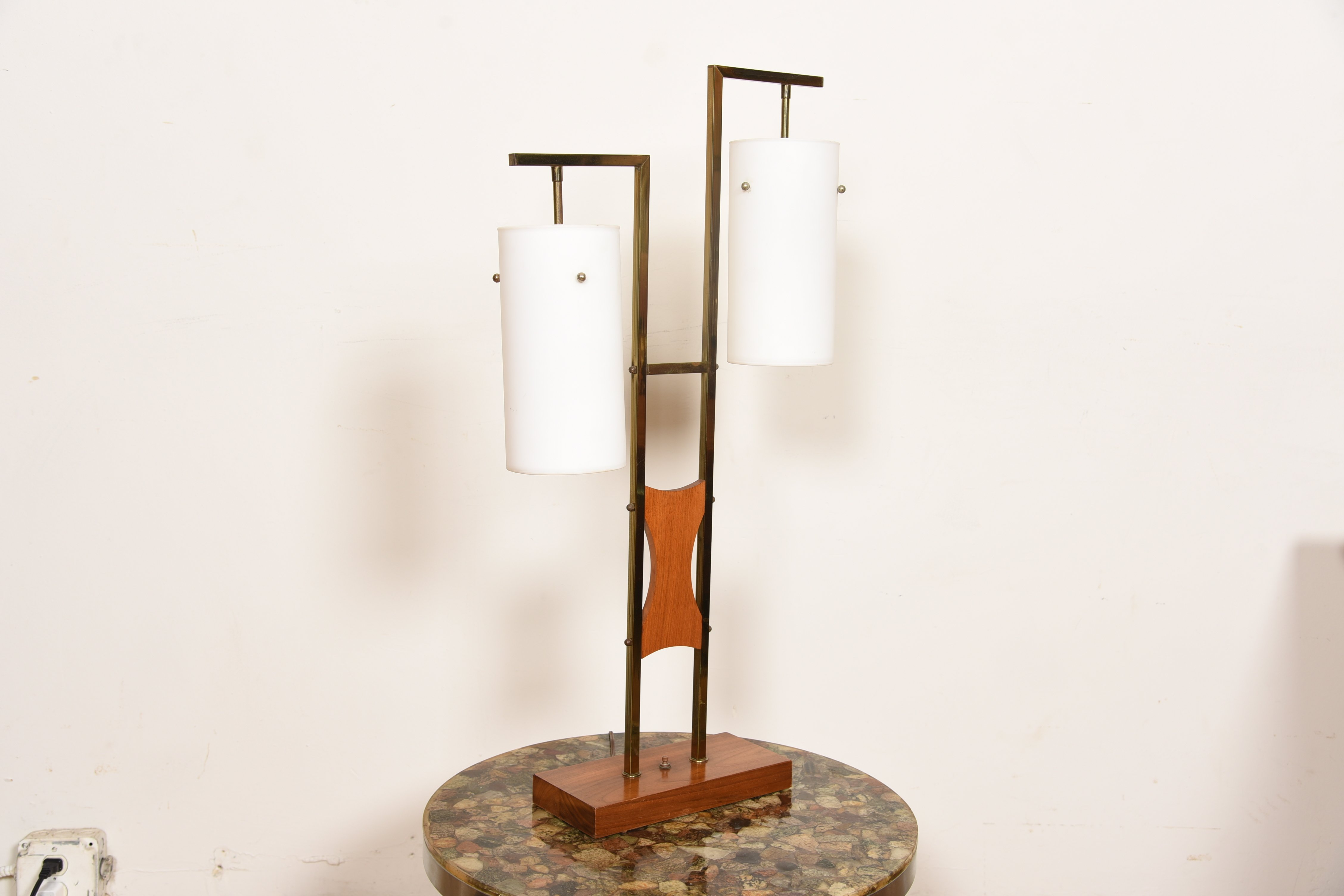 Pair of MCM Two-Light Walnut, Brass & Frosted Glass Lamps