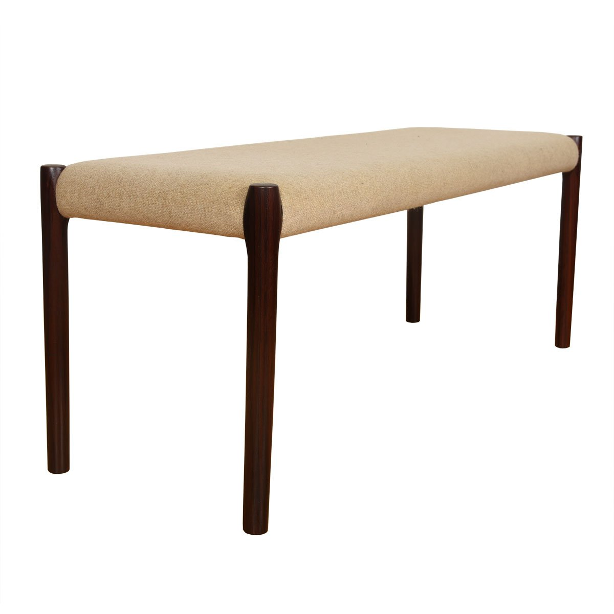 Danish Modern Rosewood Upholstered Bench by Niels Møller