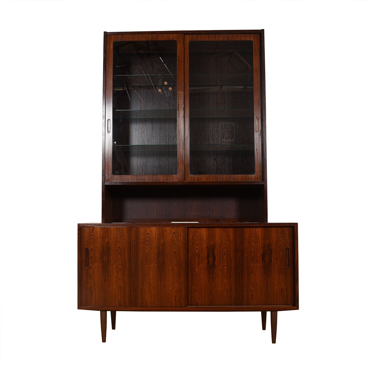 Danish Rosewood 2 Pc. Display Cabinet & Sliding Door Storage