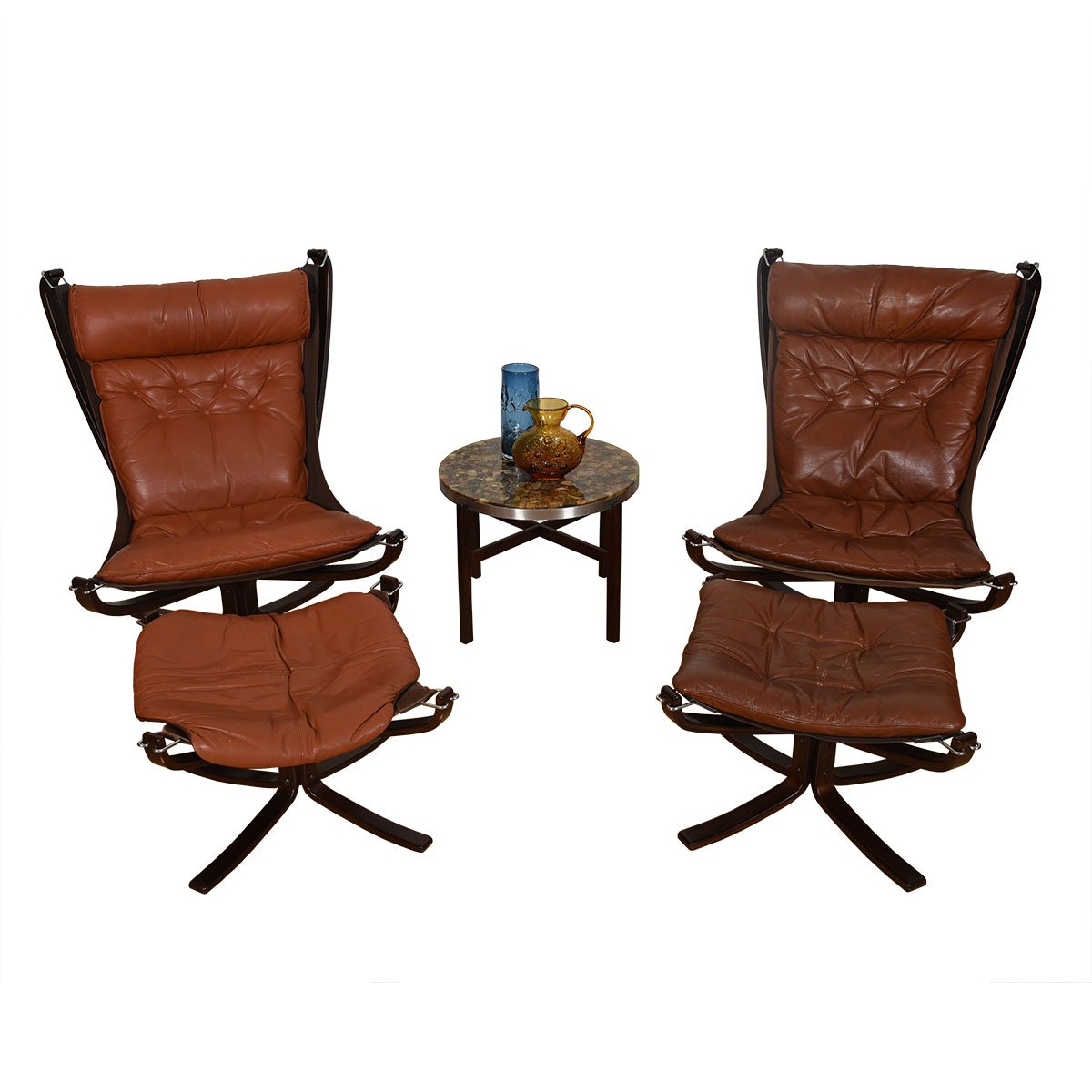 Pair of Norwegian Rosewood Leather 'Falcon' Lounge Chairs + Ottomans