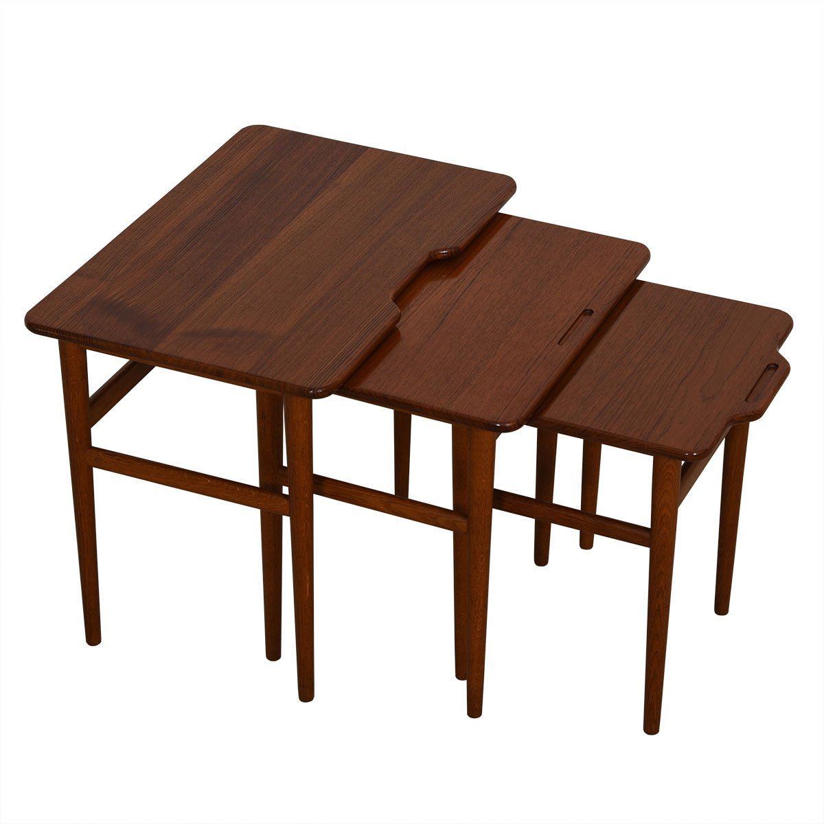 Danish Set of 3 Teak Nesting Tables with Channeled Handles