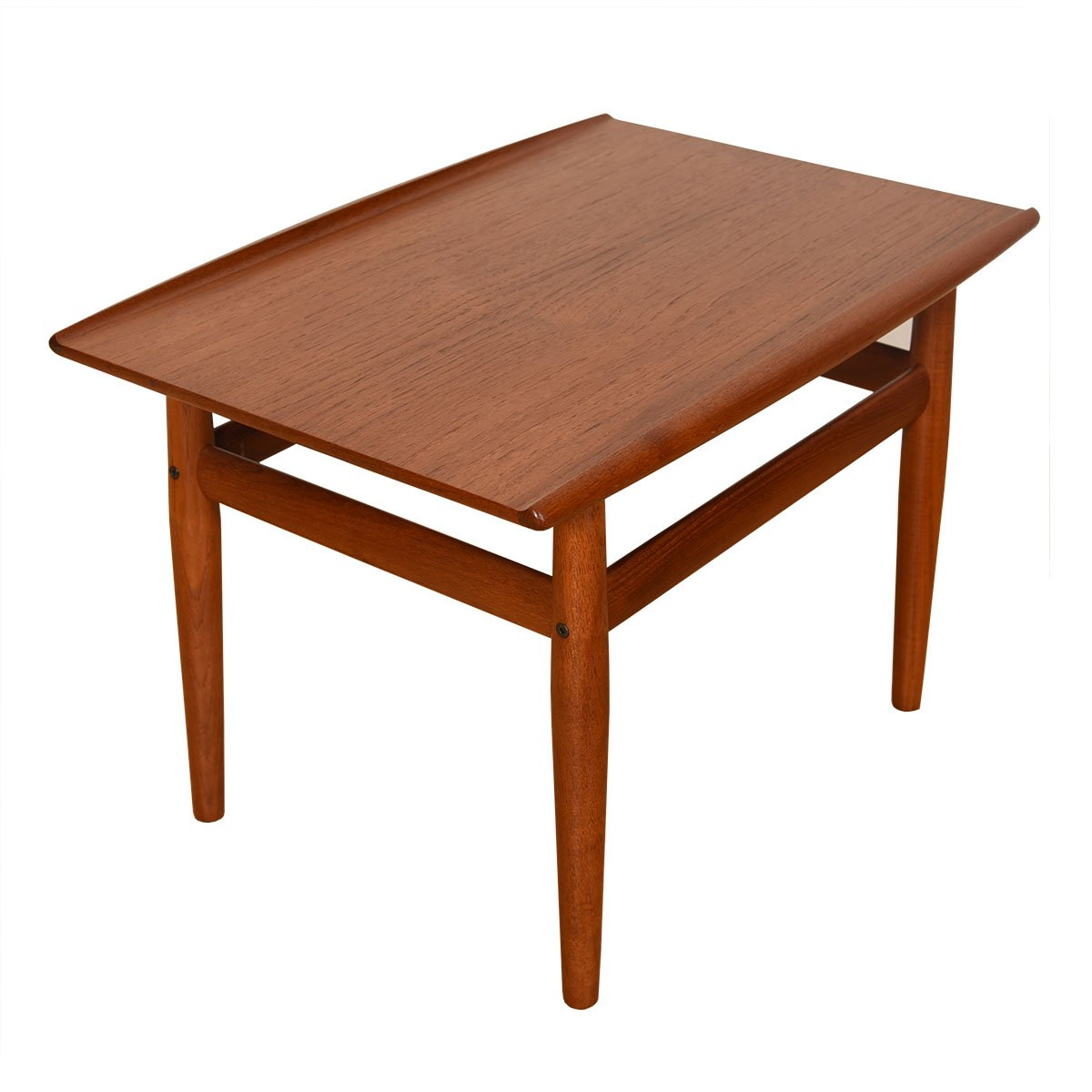 Grete Jalk Teak End / Accent Table with Raised Lip Top