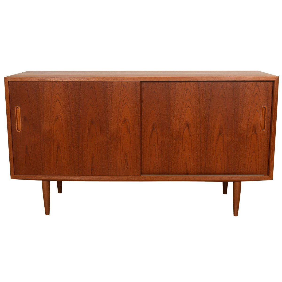 Danish Modern Teak Sliding Door Media Cabinet / Sideboard