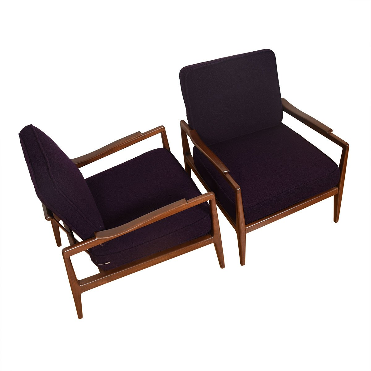 Pair of Edmond Spence Mid Century Modern Walnut Club Chairs