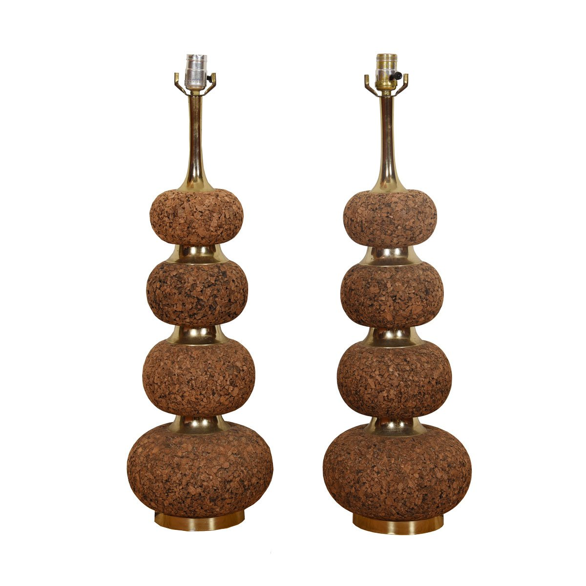 Pair of Cork and Brass Lamps with Graduated Design