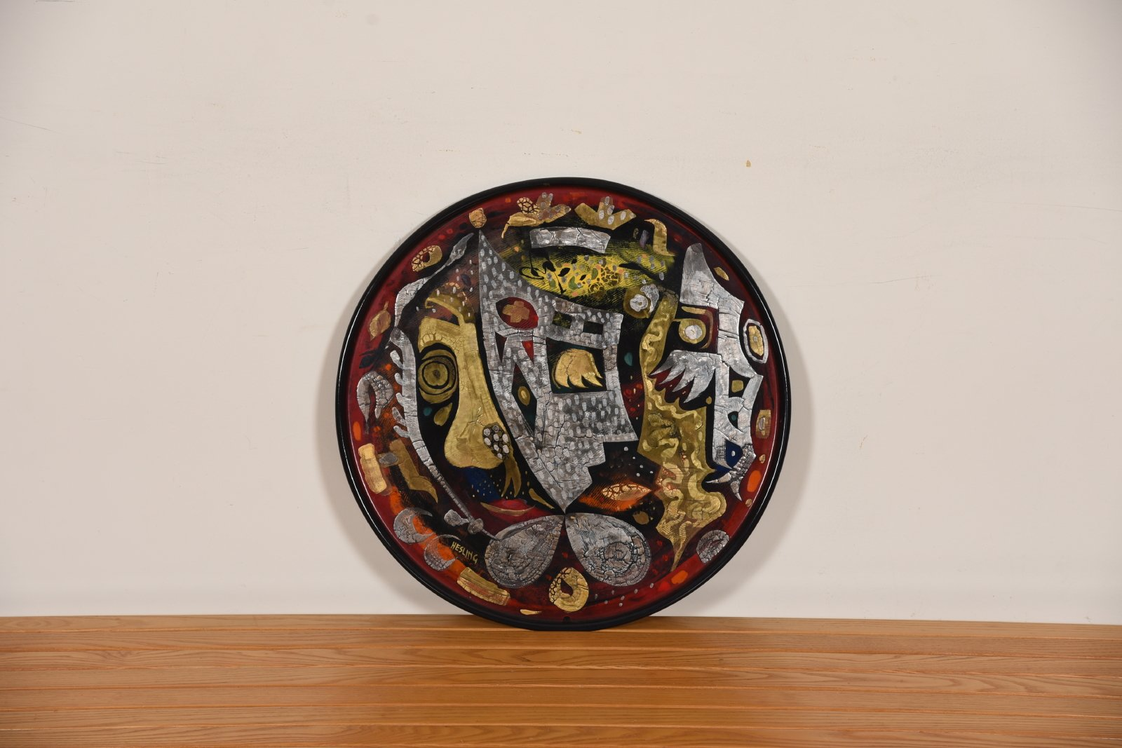 Large Enamel Platter with Maori-style Design by Bernard Hesling