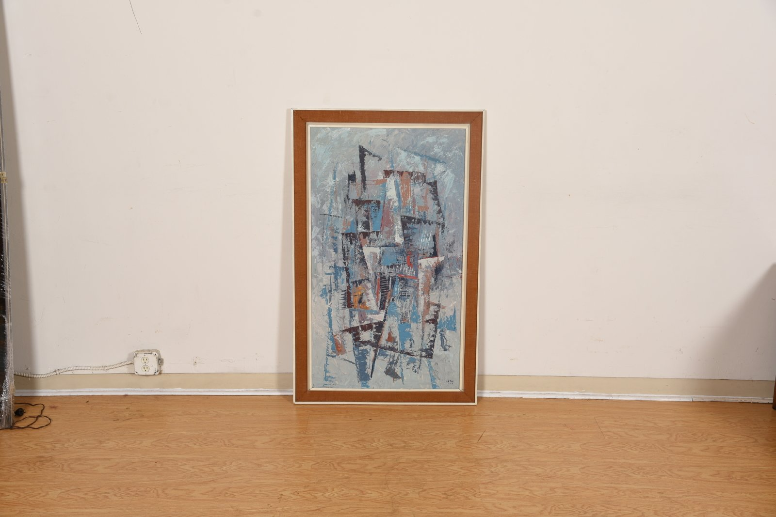 Large Abstract Expressionist Painting in Blues and Browns, Signed & Dated 1964