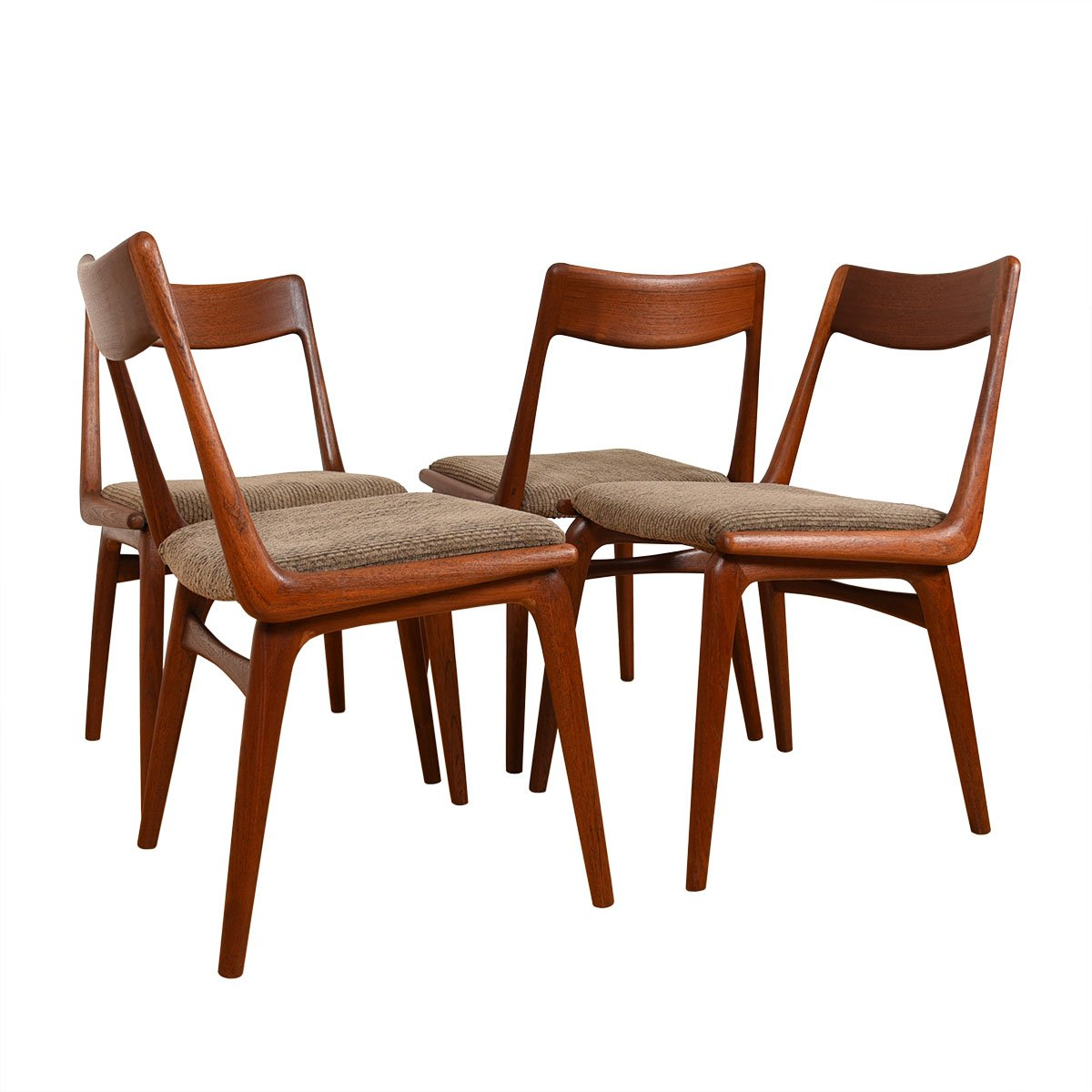 Set of 4 Danish Boomerang Dining Chairs by Erik Christensen