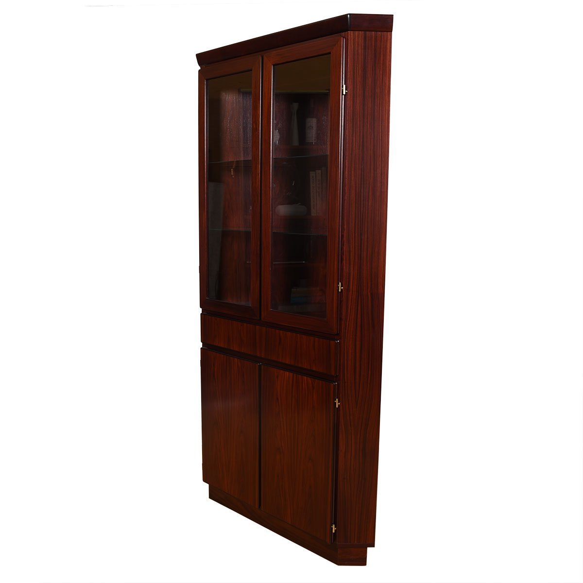 Danish Rosewood Corner Display Cabinet w/ Light