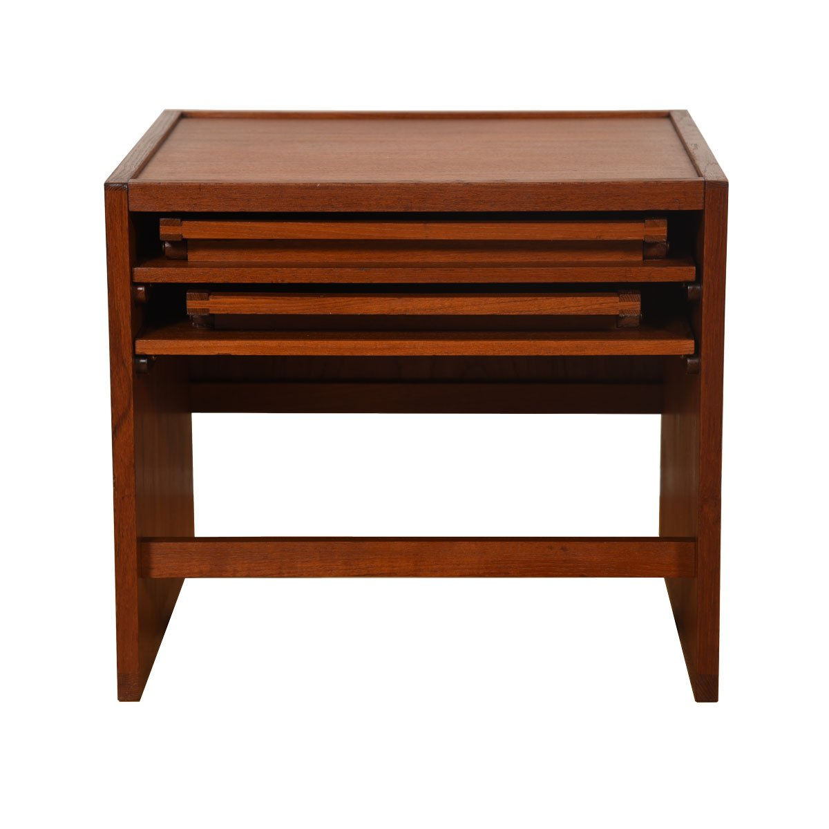 Danish Modern Teak Accent Square w/ 2 Folding Tray Tables