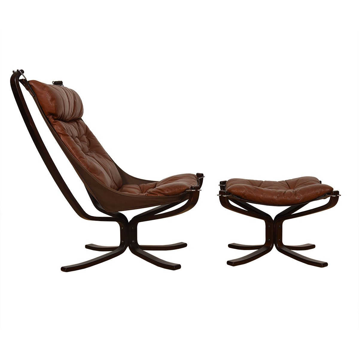 Norwegian Rosewood Leather 'Falcon' Lounge Chair + Ottoman