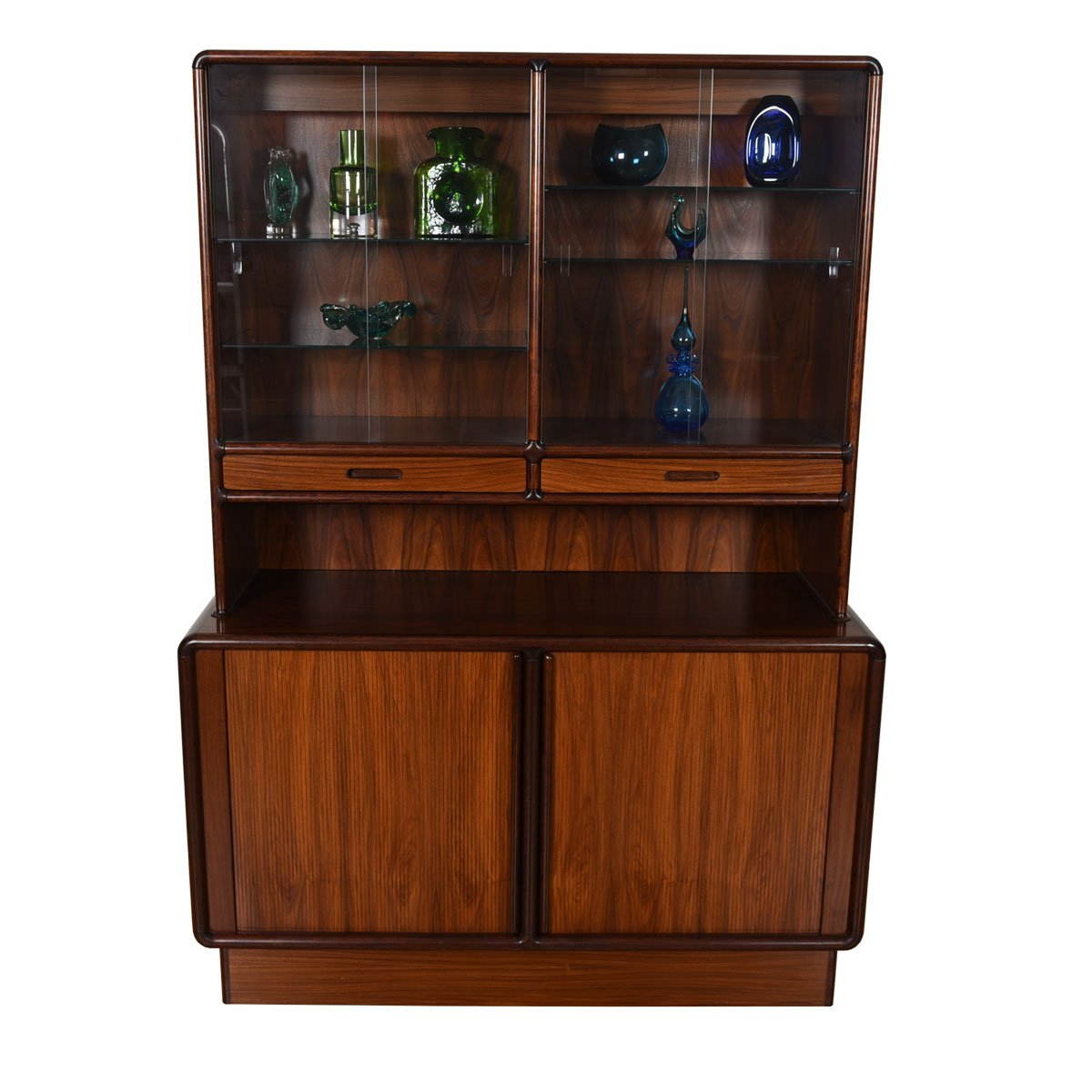 Danish Rosewood 2-Piece Storage / Display Cabinet w/ Light