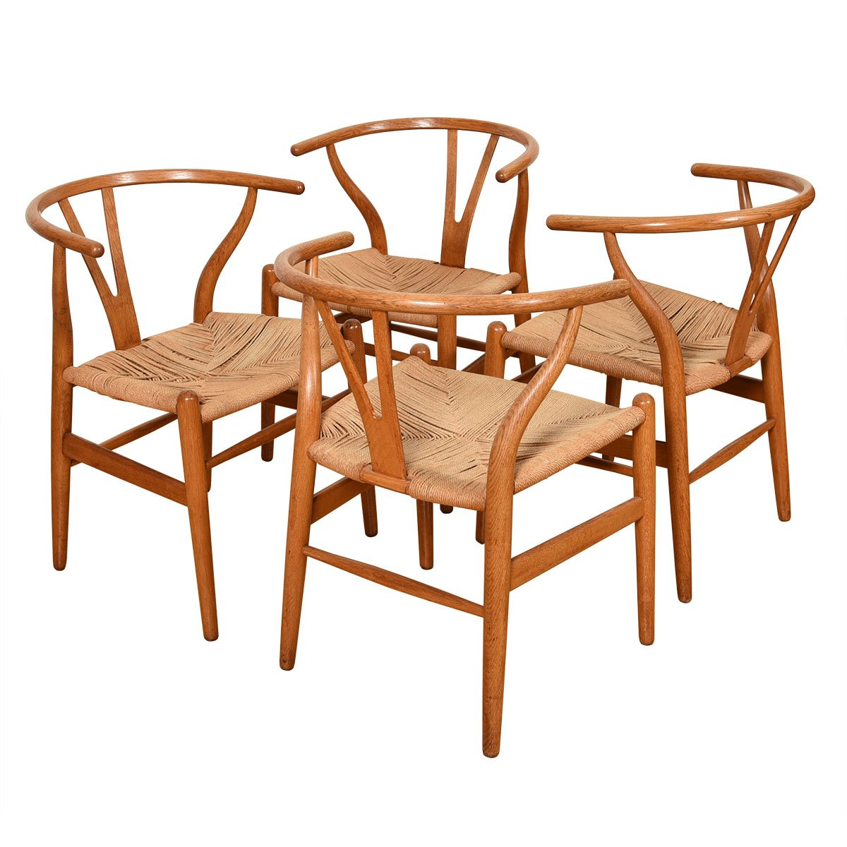 "Set of 4 Danish Modern ""Wishbone"" Dining Chairs by Hans Wegner for Carl Hansen"