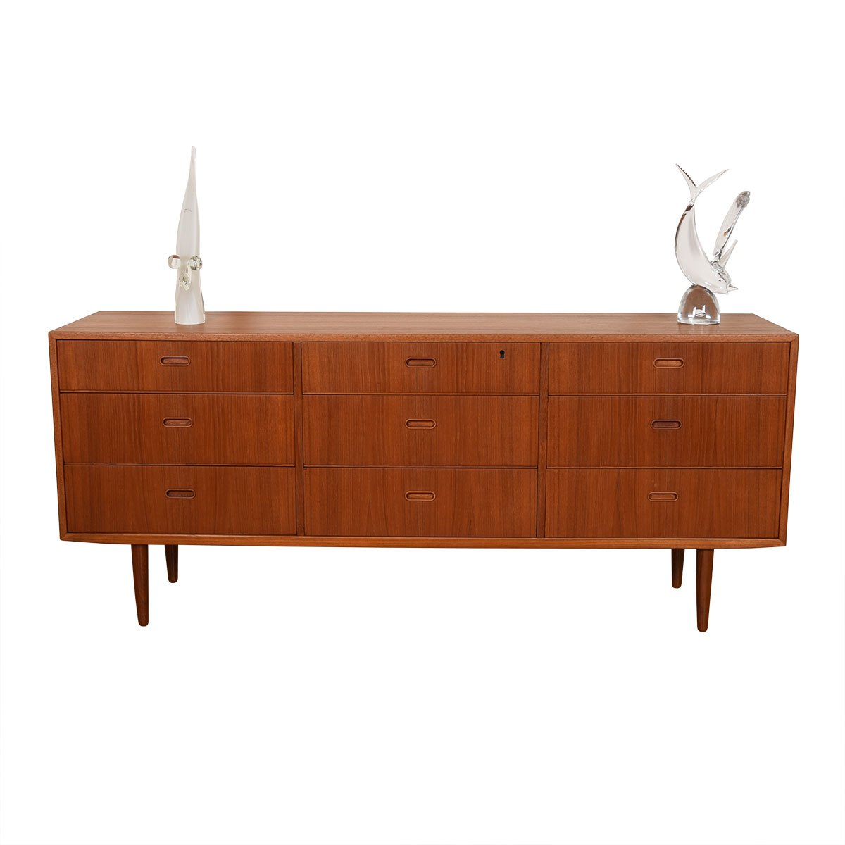 Danish Modern Teak 9 Drawer Dresser