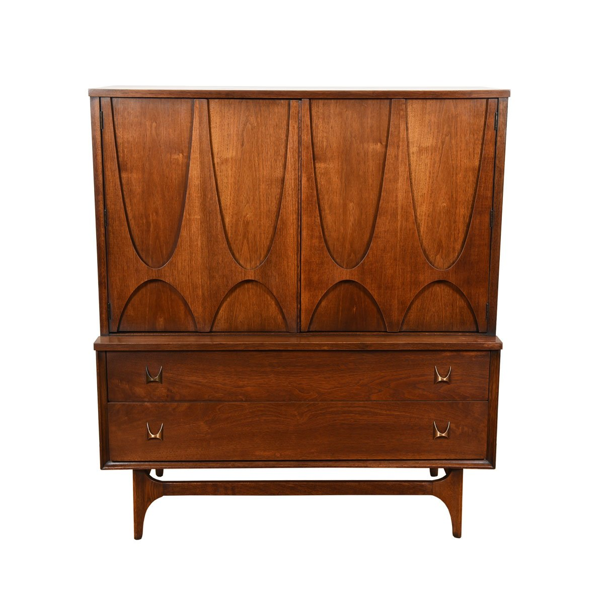 Broyhill Brasilia MCM Tall Walnut Door Chest / Dresser