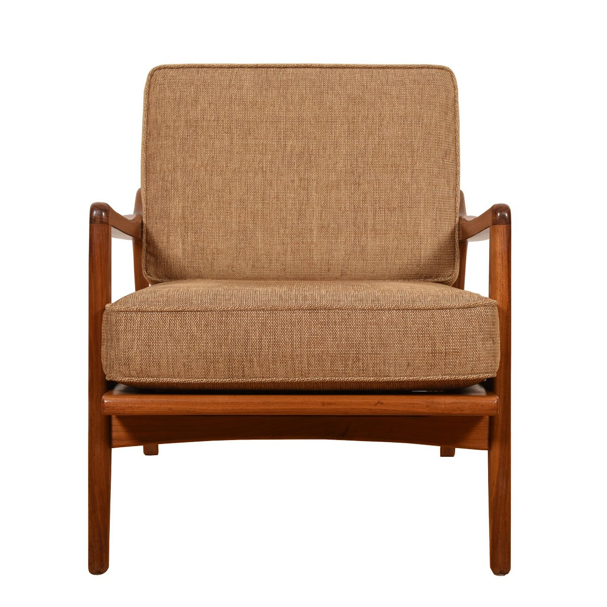 Pair Walnut Club Chairs by Smilow Design