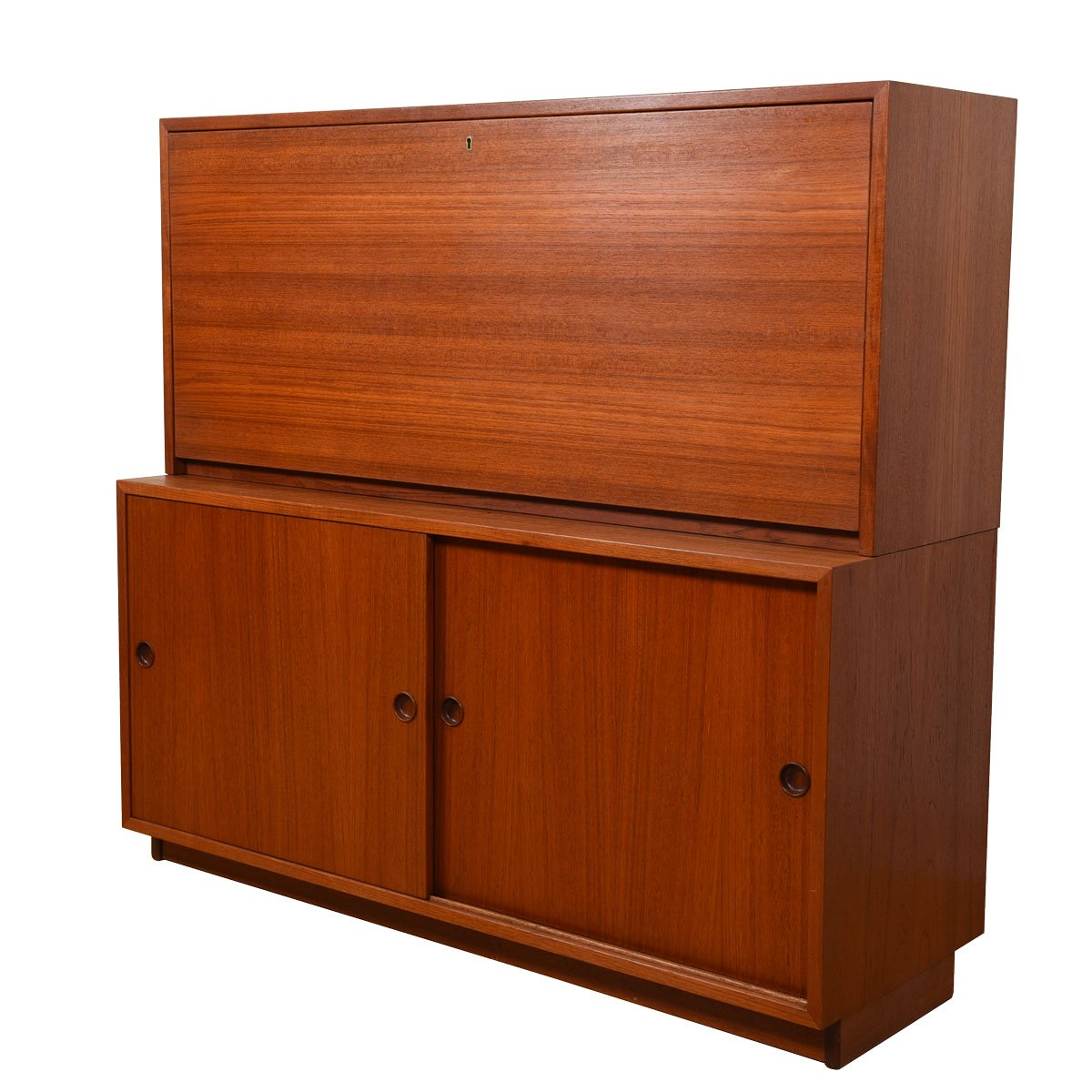 2-Piece Danish Teak Drop-Down Secretary / Sliding Door Cabinet