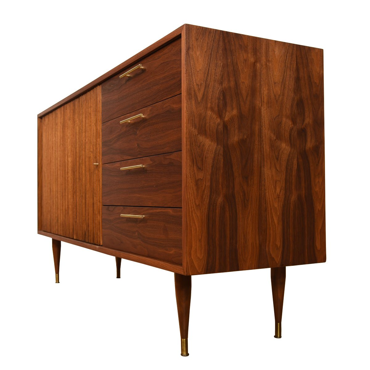 Tambour Door Walnut Credenza / Dresser 33″ Tall