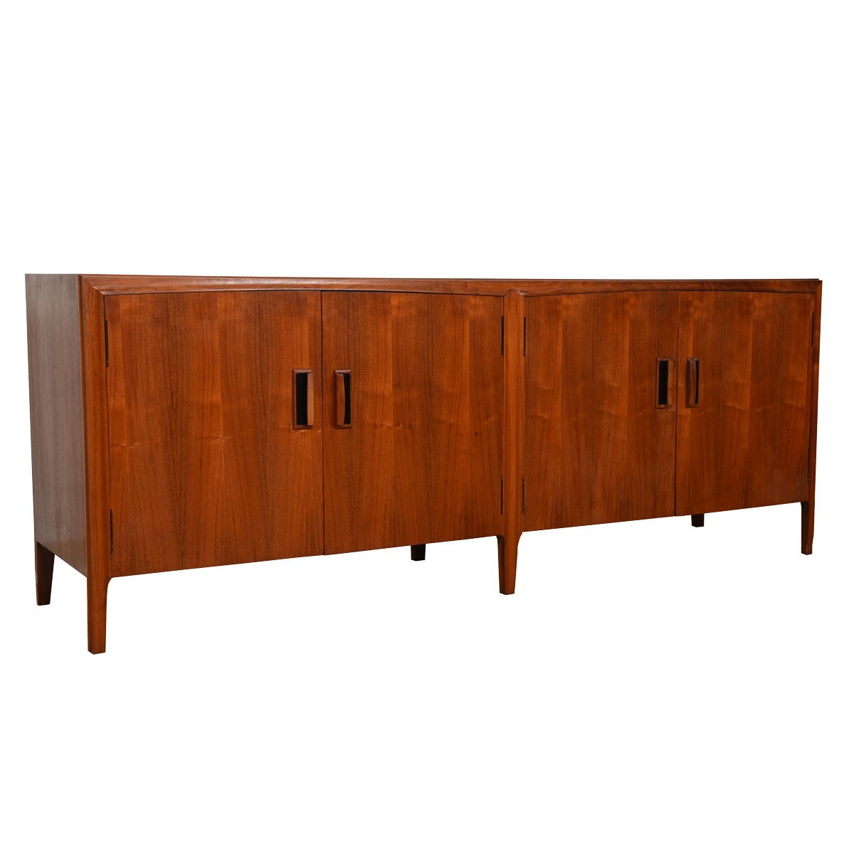 Brown Saltman American Modernist Walnut 2 Piece Display / Storage Cabinet