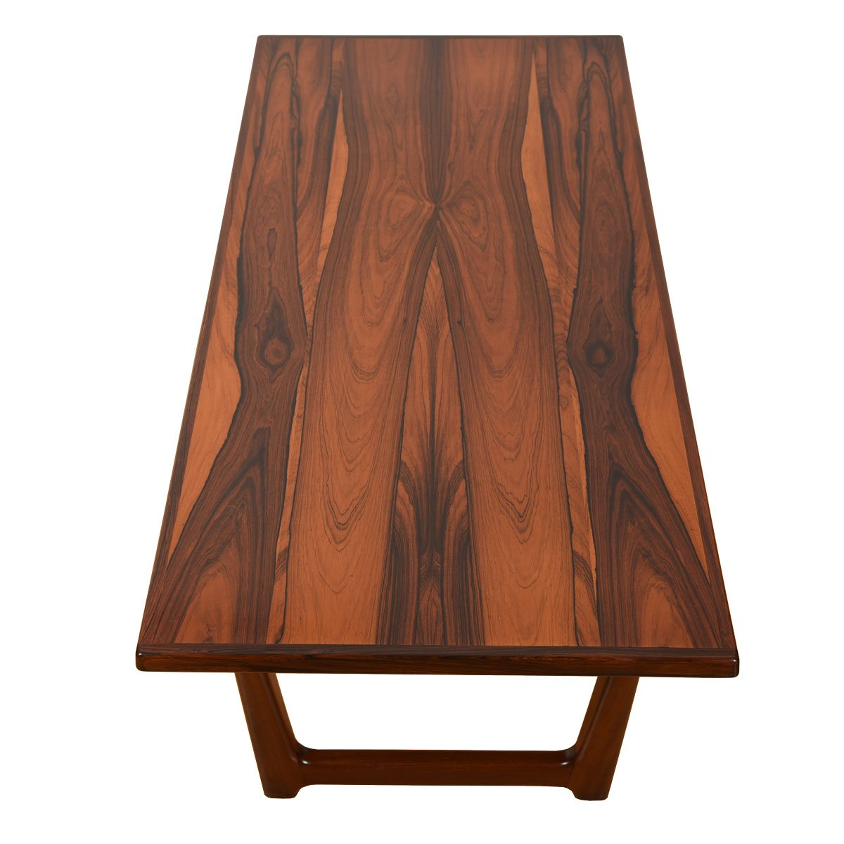 Danish Modern Rosewood Sleigh-Leg Coffee Table