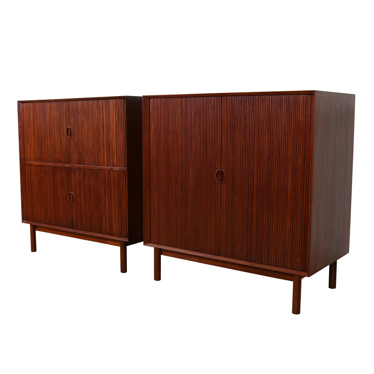 Rare Pair of Solid Teak Tambour Cabinets by Peter Hvidt for Søborg Møbler