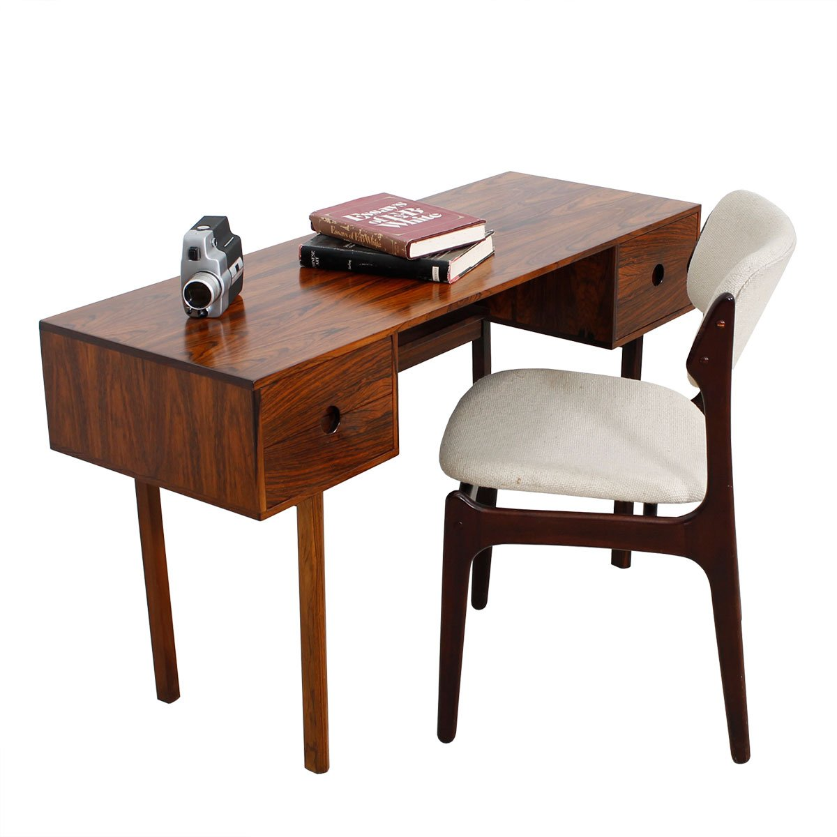 Petite Danish Modern Rosewood Split Drawer Desk