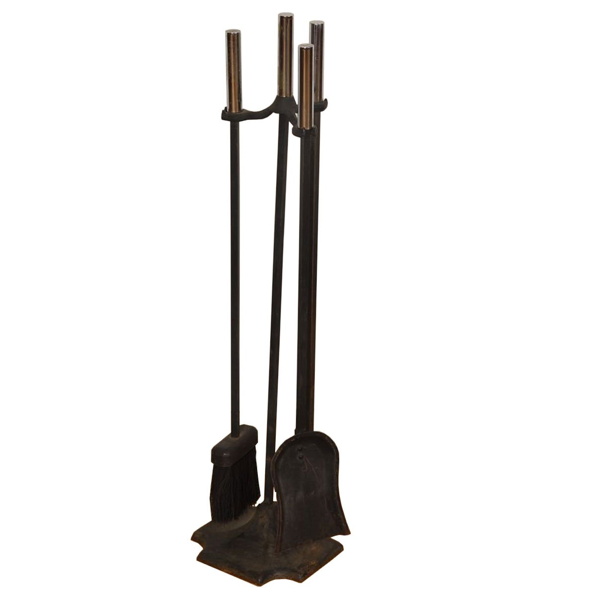 Set of Iron Mid-century Modern Fireplace Tools with Chrome Handles