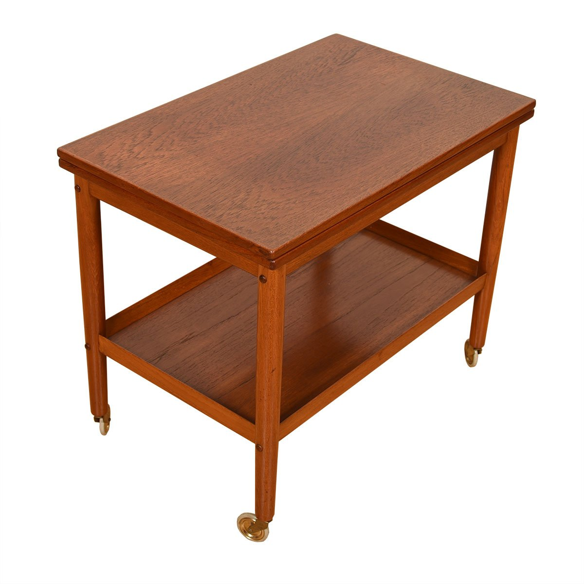 Fold-Over Danish Modern Teak Expanding Bar / Serving Cart
