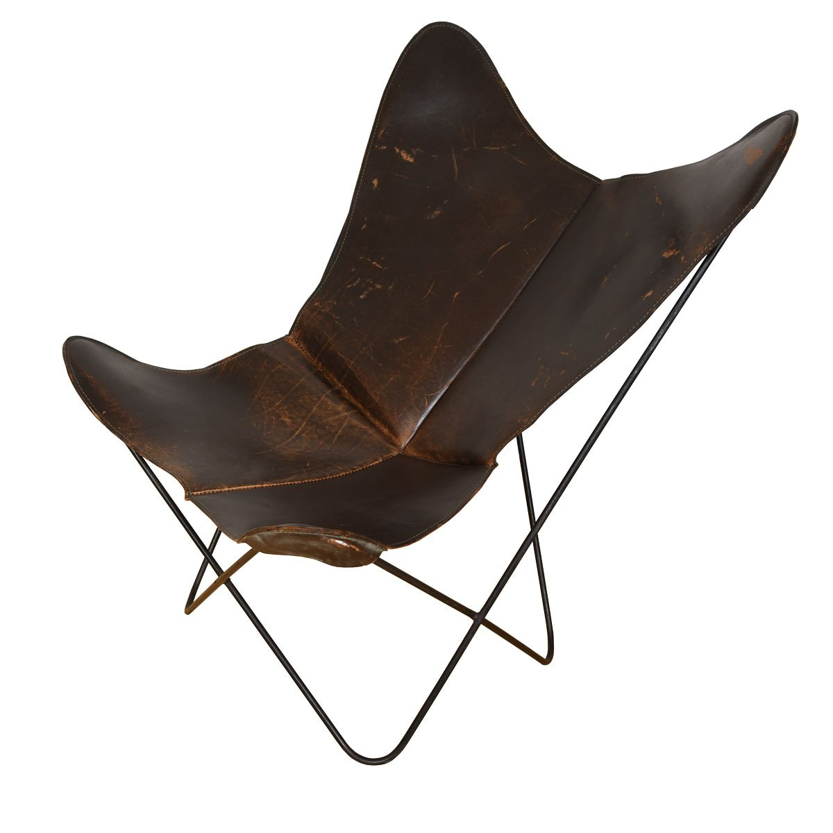 Danish Brown Leather Butterfly Lounge Chair
