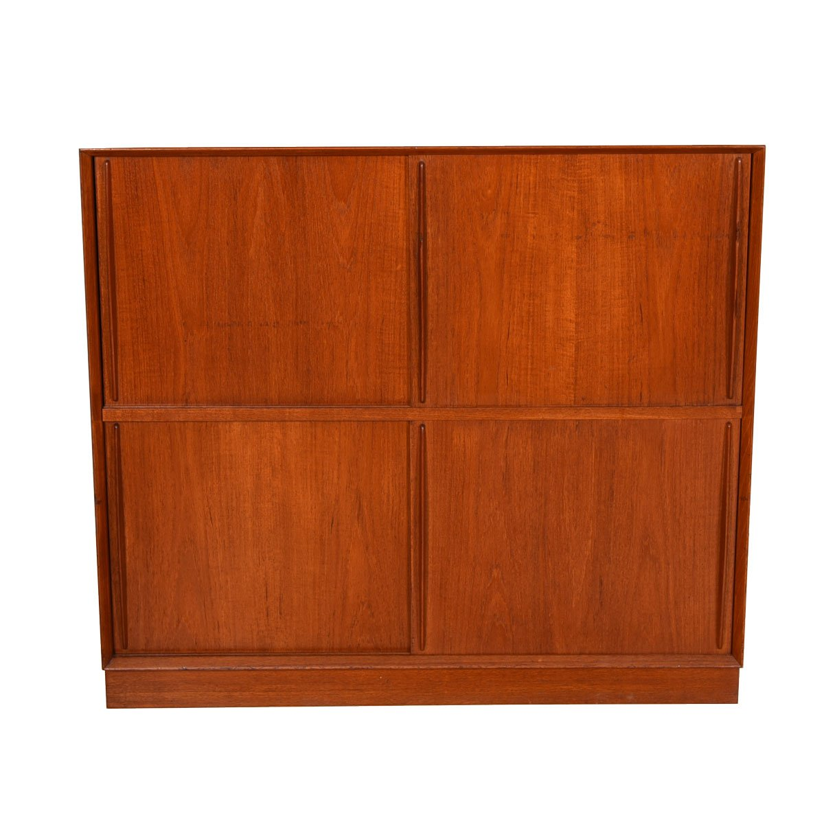 Peter Hvidt Solid-Teak Danish Sliding Door 2-Tier Storage Cabinet