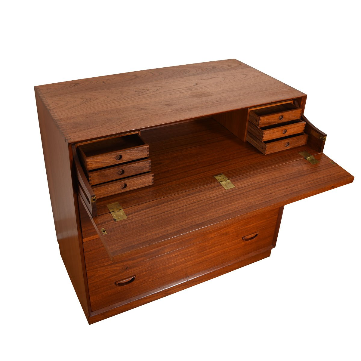 Peter Hvidt Solid-Teak Danish Drop-Down Storage / Sit-Down Secretary Cabinet