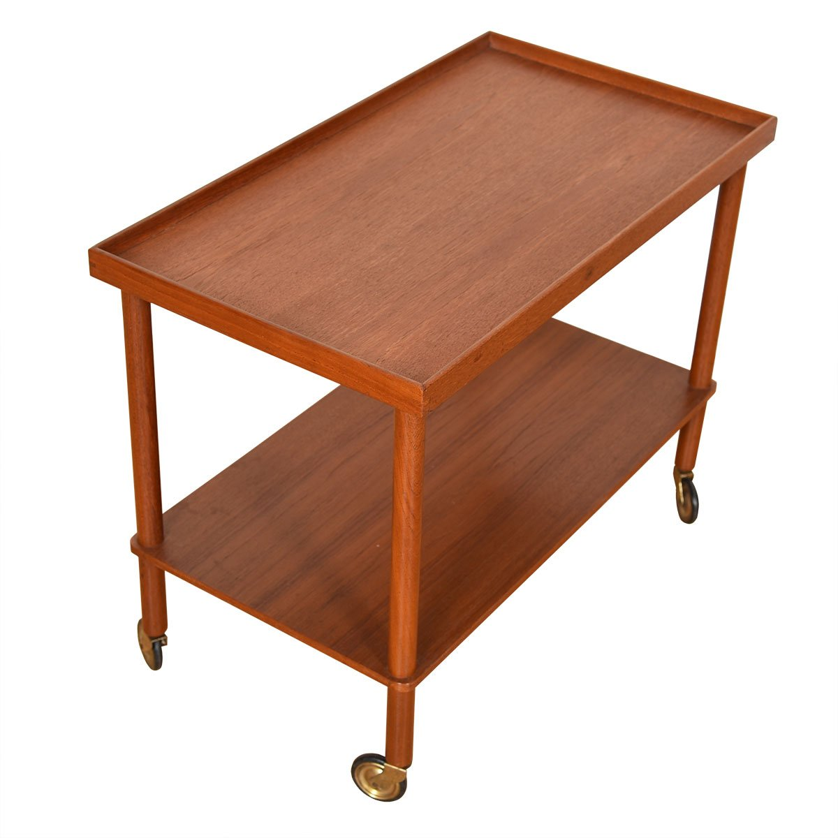 Danish Modern Teak Serving / Bar Cart w/ Lower Shelf