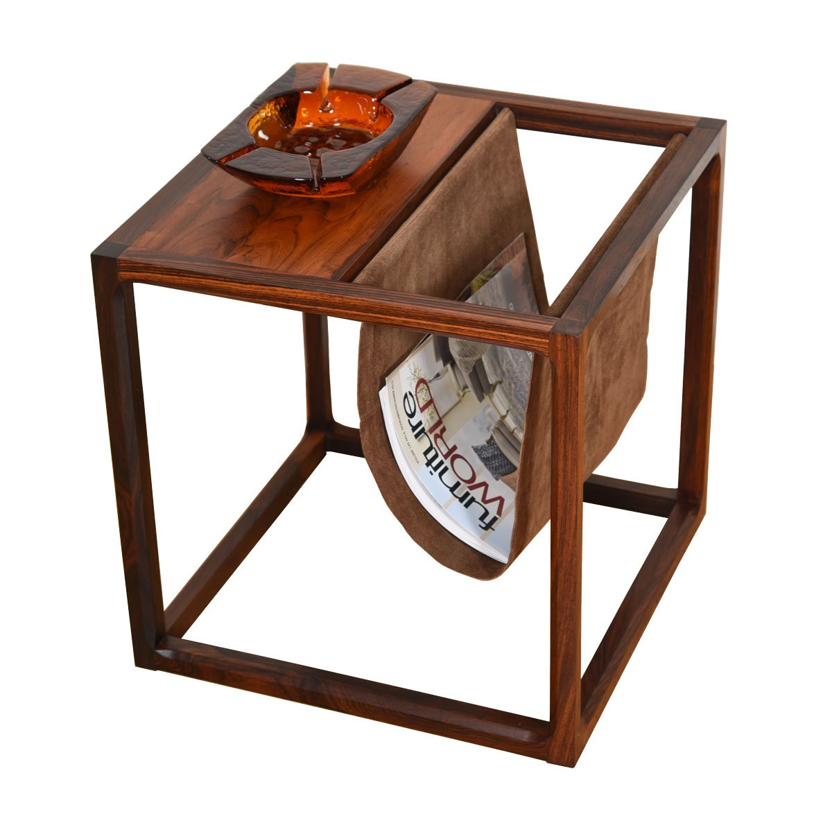 Suede & Rosewood Danish Modern Magazine Rack / Side Table