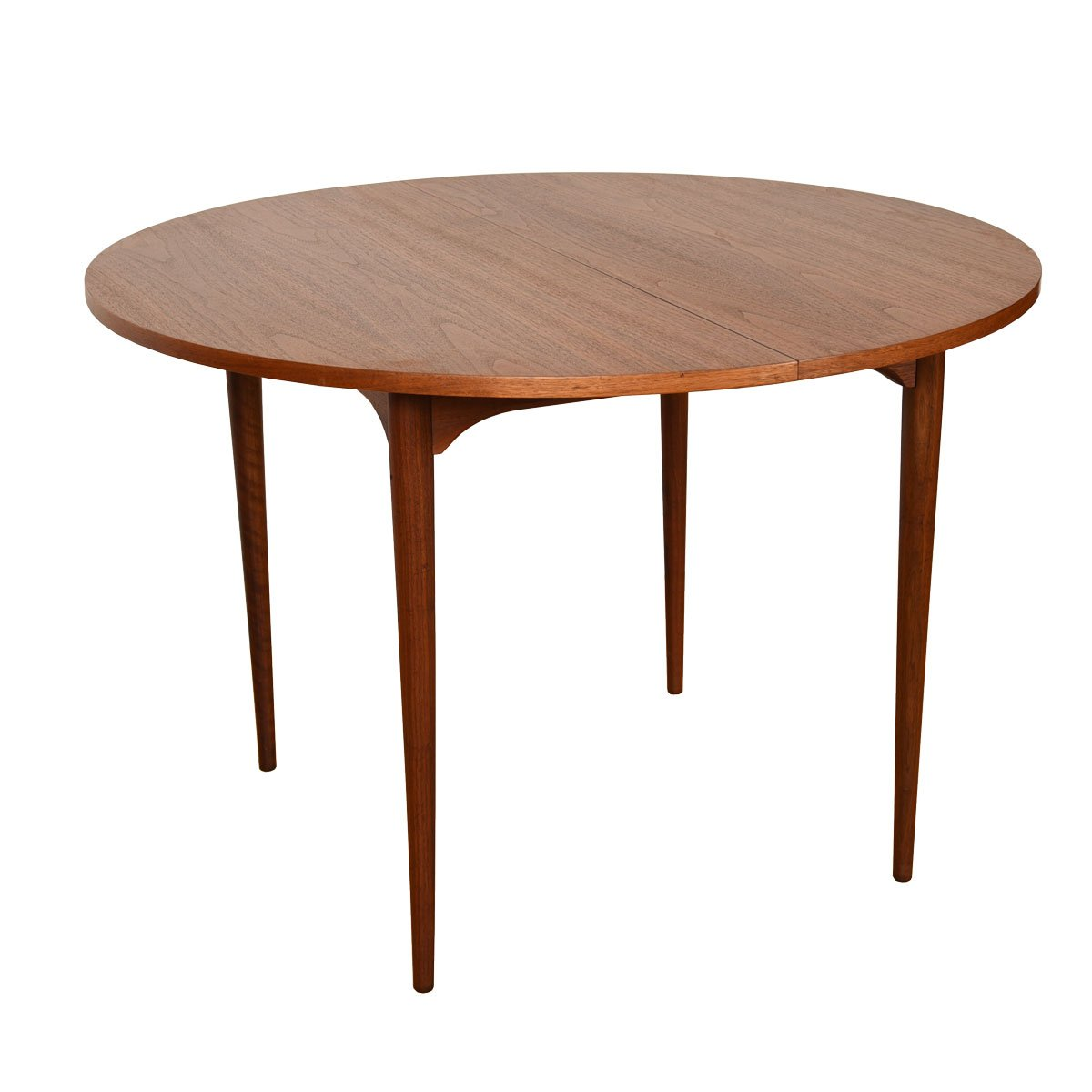 Brown Saltman Petite 42″ Round-to-Oval Walnut Dining Table w/ 2 Leaves