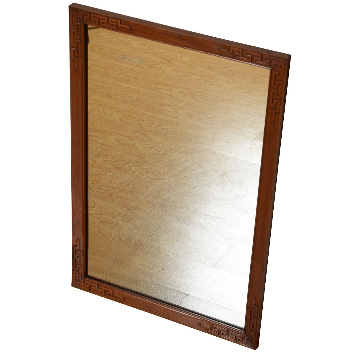 Asian Inspired Teak Mirror with Carved Frame