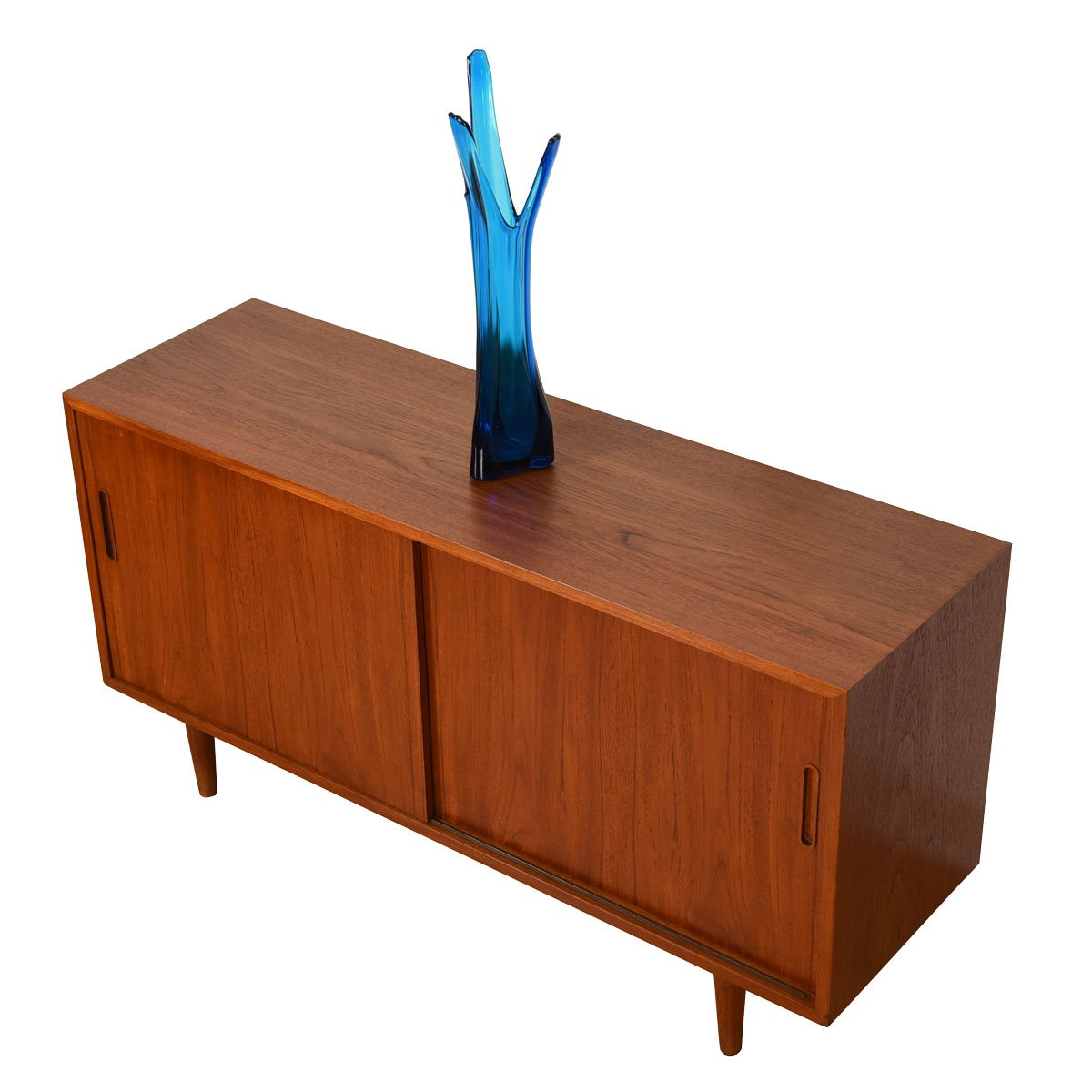 Danish Modern Teak Sliding Door Media Cabinet / Credenza