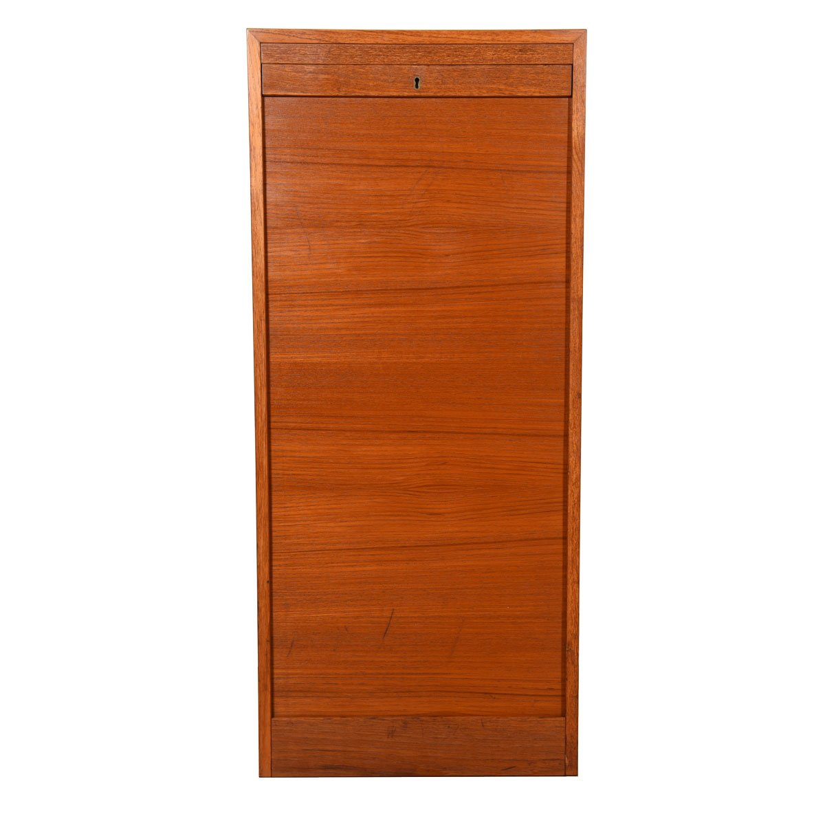 Danish Modern Teak Locking Tambour Door Filing Cabinet