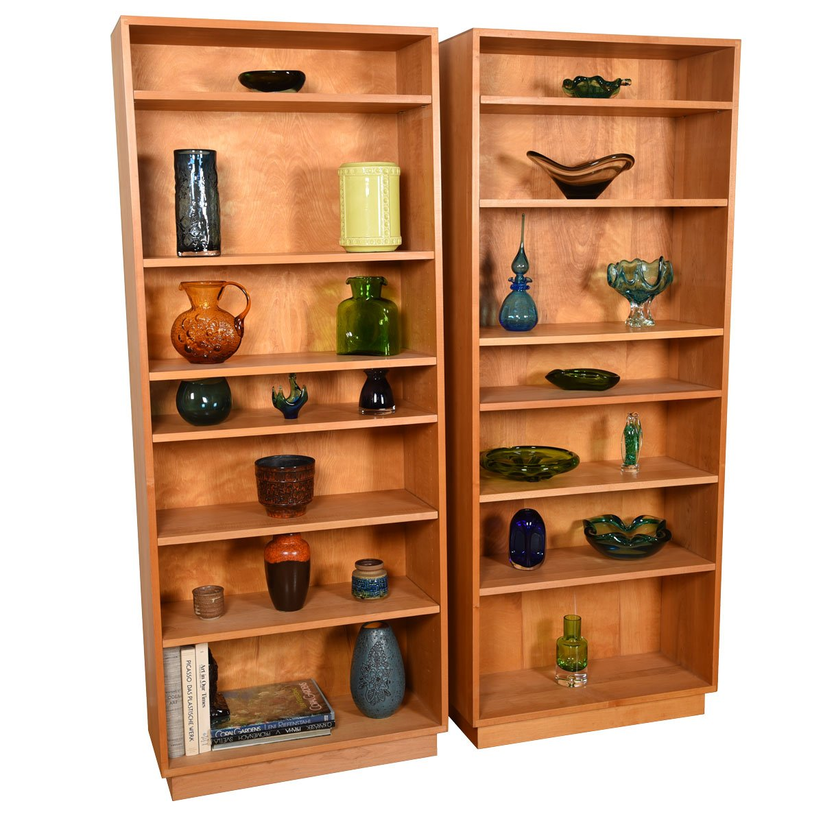Pair Solid Maple Bookcases w/ Adjustable Shelves